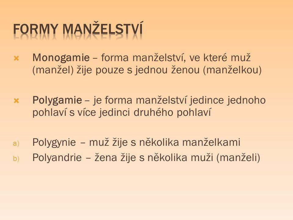  Monogamie – forma manželství, ve které muž (manžel) žije pouze s jednou ženou (manželkou)  Polygamie – je forma manželství jedince jednoho pohlaví s více jedinci druhého pohlaví a) Polygynie – muž žije s několika manželkami b) Polyandrie – žena žije s několika muži (manželi)