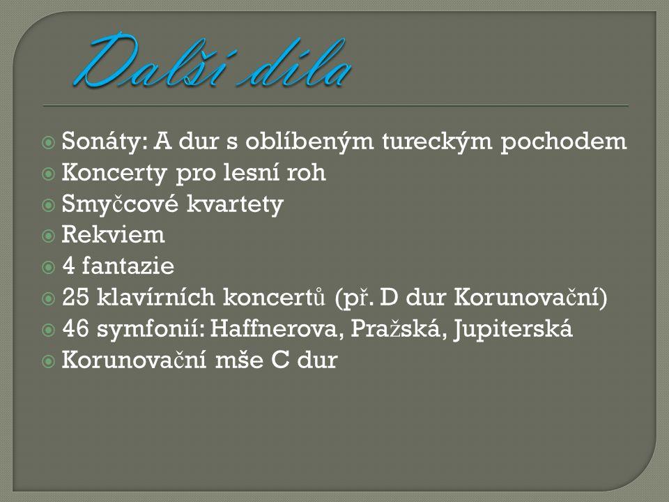  Sonáty: A dur s oblíbeným tureckým pochodem  Koncerty pro lesní roh  Smy č cové kvartety  Rekviem  4 fantazie  25 klavírních koncert ů (p ř.