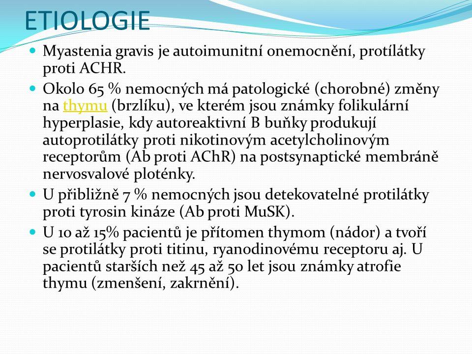 ETIOLOGIE Myastenia gravis je autoimunitní onemocnění, protílátky proti ACHR.