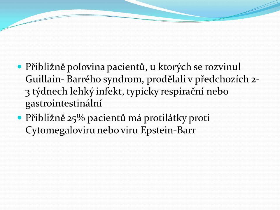 Přibližně polovina pacientů, u ktorých se rozvinul Guillain- Barrého syndrom, prodělali v předchozích 2- 3 týdnech lehký infekt, typicky respirační nebo gastrointestinální Přibližně 25% pacientů má protilátky proti Cytomegaloviru nebo viru Epstein-Barr