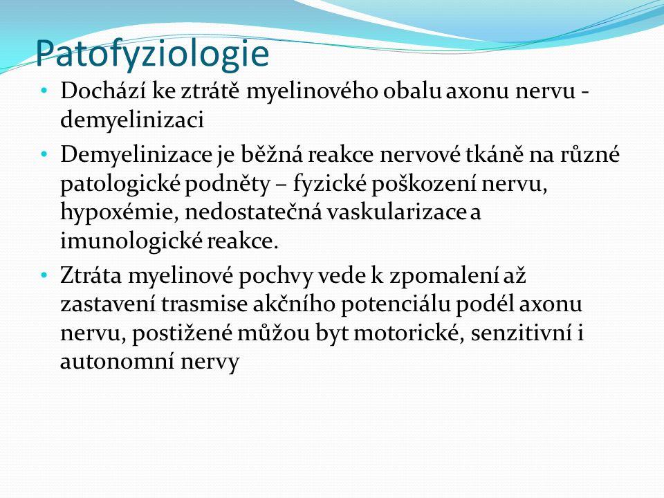 Patofyziologie Dochází ke ztrátě myelinového obalu axonu nervu - demyelinizaci Demyelinizace je běžná reakce nervové tkáně na různé patologické podněty – fyzické poškození nervu, hypoxémie, nedostatečná vaskularizace a imunologické reakce.