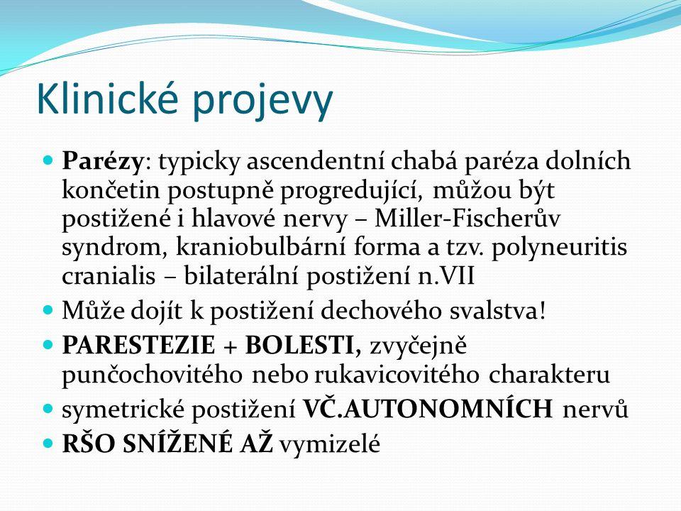 Klinické projevy Parézy: typicky ascendentní chabá paréza dolních končetin postupně progredující, můžou být postižené i hlavové nervy – Miller-Fischerův syndrom, kraniobulbární forma a tzv.
