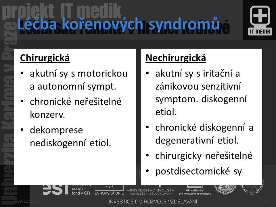Chirurgická akutní sy s motorickou a autonomní sympt. chronické neřešitelné konzerv. dekomprese nediskogenní etiol. Nechirurgická akutní sy s iritační
