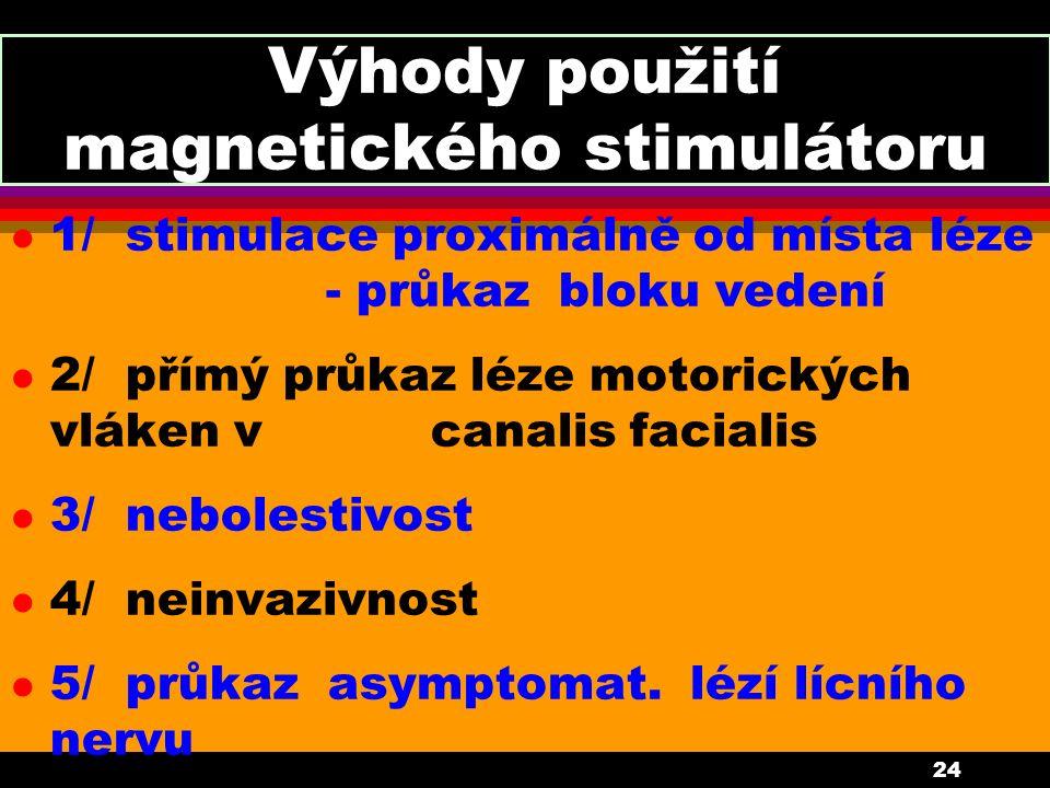 24 Výhody použití magnetického stimulátoru l 1/ stimulace proximálně od místa léze - průkaz bloku vedení l 2/ přímý průkaz léze motorických vláken v c