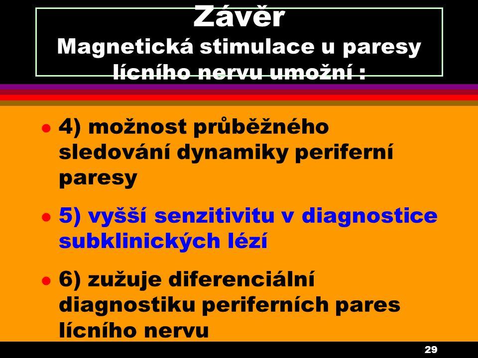 29 Závěr Magnetická stimulace u paresy lícního nervu umožní : l 4) možnost průběžného sledování dynamiky periferní paresy l 5) vyšší senzitivitu v diagnostice subklinických lézí l 6) zužuje diferenciální diagnostiku periferních pares lícního nervu