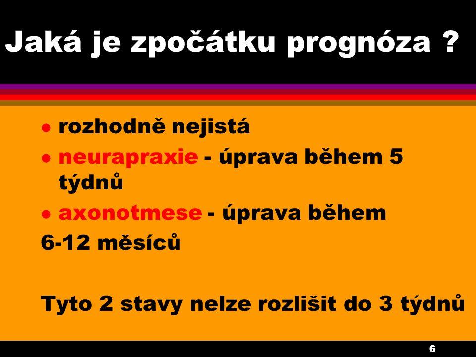 6 Jaká je zpočátku prognóza ? l rozhodně nejistá l neurapraxie - úprava během 5 týdnů l axonotmese - úprava během 6-12 měsíců Tyto 2 stavy nelze rozli