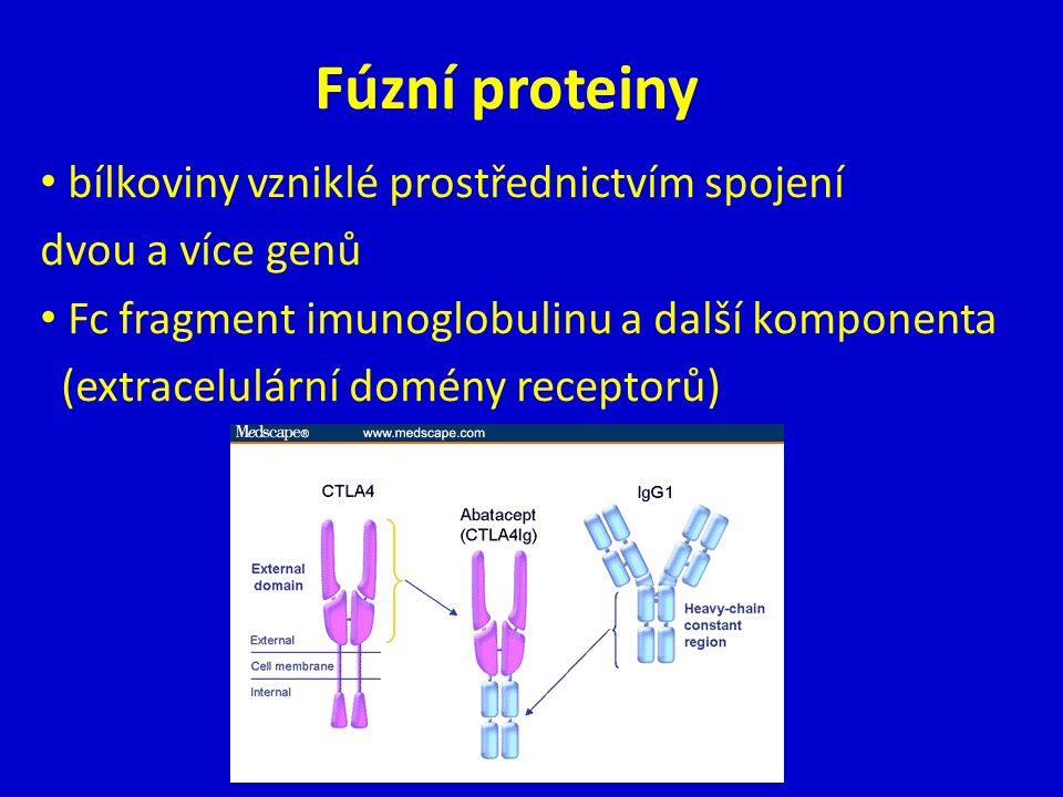Fúzní proteiny bílkoviny vzniklé prostřednictvím spojení dvou a více genů Fc fragment imunoglobulinu a další komponenta (extracelulární domény receptorů)