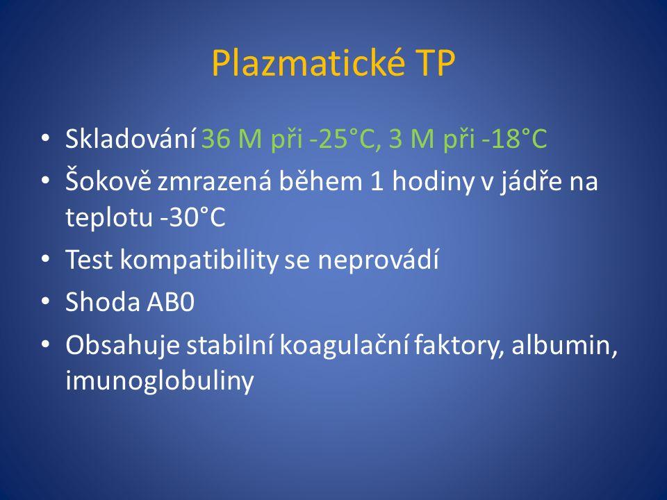 Plazmatické TP Skladování 36 M při -25°C, 3 M při -18°C Šokově zmrazená během 1 hodiny v jádře na teplotu -30°C Test kompatibility se neprovádí Shoda AB0 Obsahuje stabilní koagulační faktory, albumin, imunoglobuliny