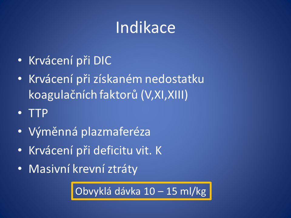 Indikace Krvácení při DIC Krvácení při získaném nedostatku koagulačních faktorů (V,XI,XIII) TTP Výměnná plazmaferéza Krvácení při deficitu vit.
