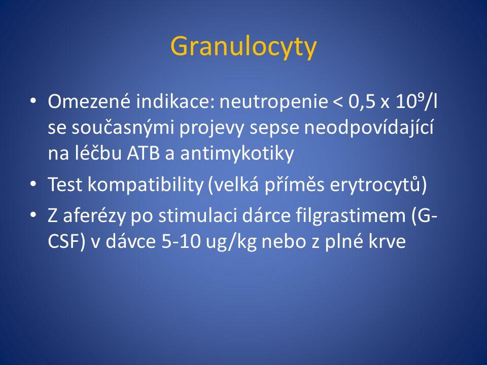 Granulocyty Omezené indikace: neutropenie < 0,5 x 10 9 /l se současnými projevy sepse neodpovídající na léčbu ATB a antimykotiky Test kompatibility (velká příměs erytrocytů) Z aferézy po stimulaci dárce filgrastimem (G- CSF) v dávce 5-10 ug/kg nebo z plné krve