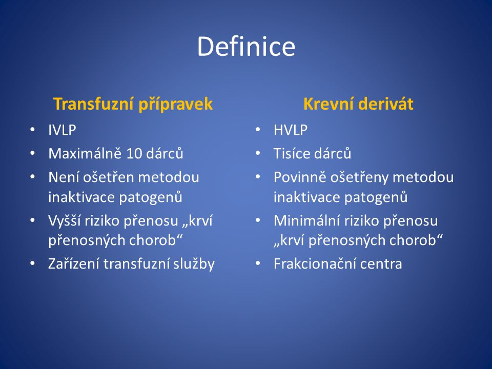 """Definice Transfuzní přípravek IVLP Maximálně 10 dárců Není ošetřen metodou inaktivace patogenů Vyšší riziko přenosu """"krví přenosných chorob Zařízení transfuzní služby Krevní derivát HVLP Tisíce dárců Povinně ošetřeny metodou inaktivace patogenů Minimální riziko přenosu """"krví přenosných chorob Frakcionační centra"""