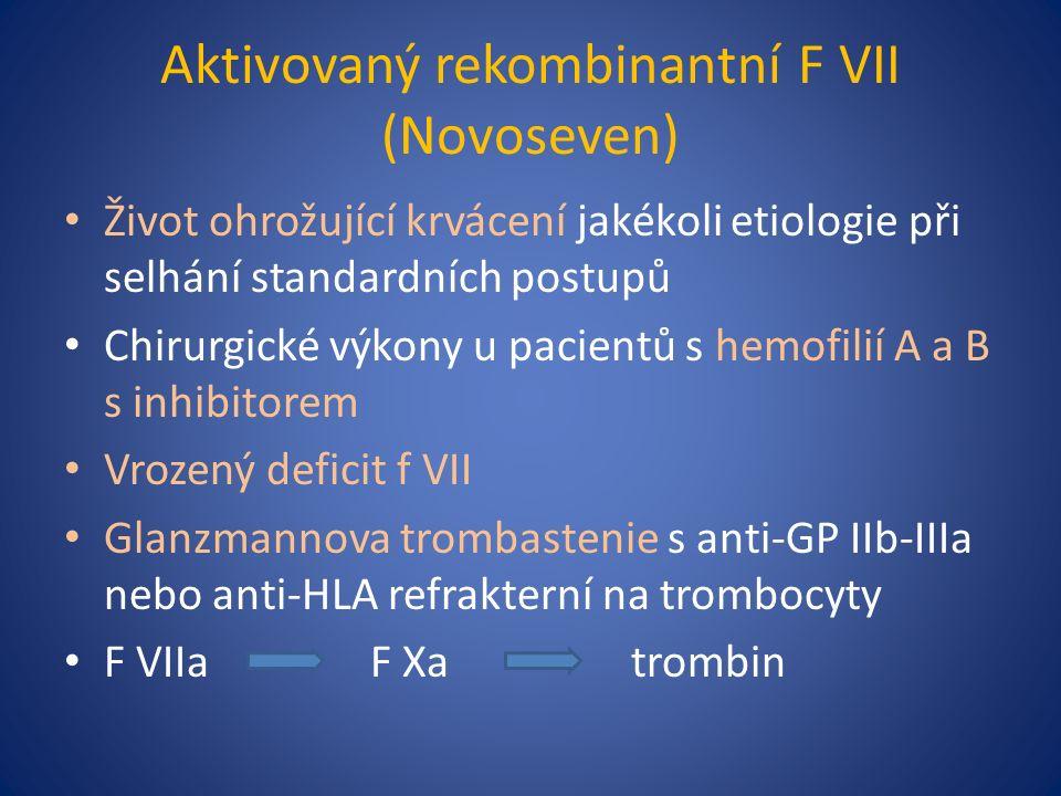 Aktivovaný rekombinantní F VII (Novoseven) Život ohrožující krvácení jakékoli etiologie při selhání standardních postupů Chirurgické výkony u pacientů s hemofilií A a B s inhibitorem Vrozený deficit f VII Glanzmannova trombastenie s anti-GP IIb-IIIa nebo anti-HLA refrakterní na trombocyty F VIIa F Xa trombin