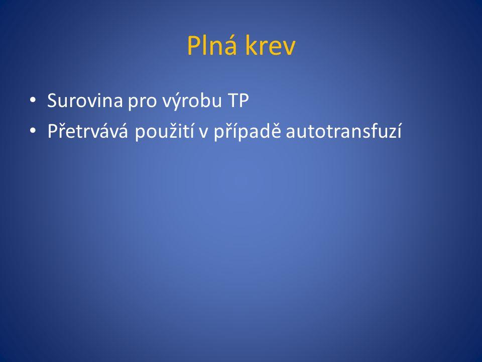 Plná krev Surovina pro výrobu TP Přetrvává použití v případě autotransfuzí