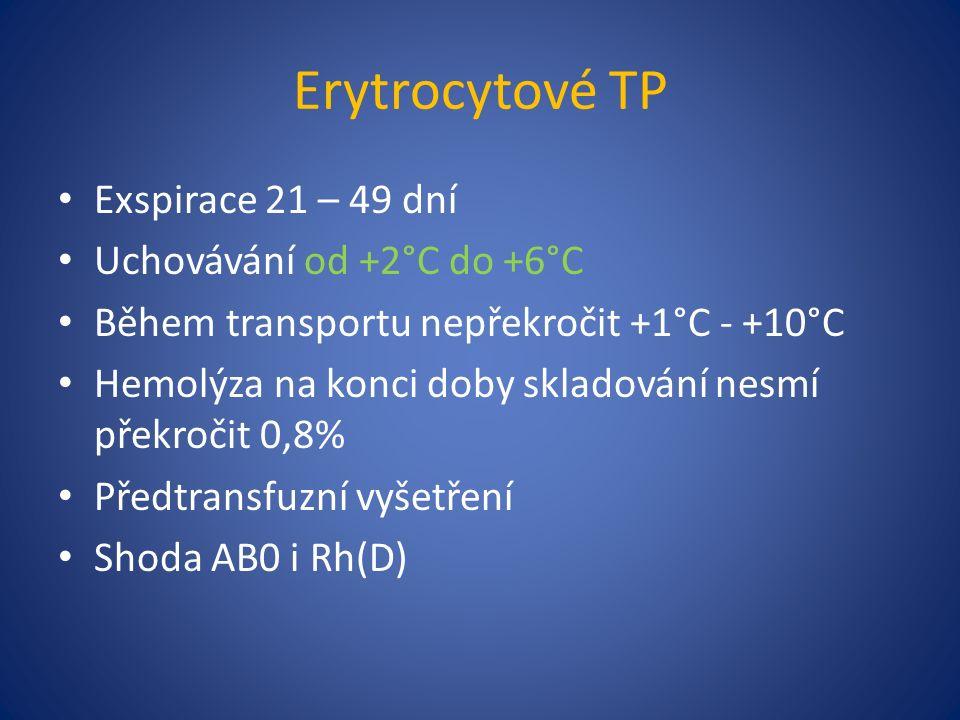 Erytrocytové TP Exspirace 21 – 49 dní Uchovávání od +2°C do +6°C Během transportu nepřekročit +1°C - +10°C Hemolýza na konci doby skladování nesmí překročit 0,8% Předtransfuzní vyšetření Shoda AB0 i Rh(D)