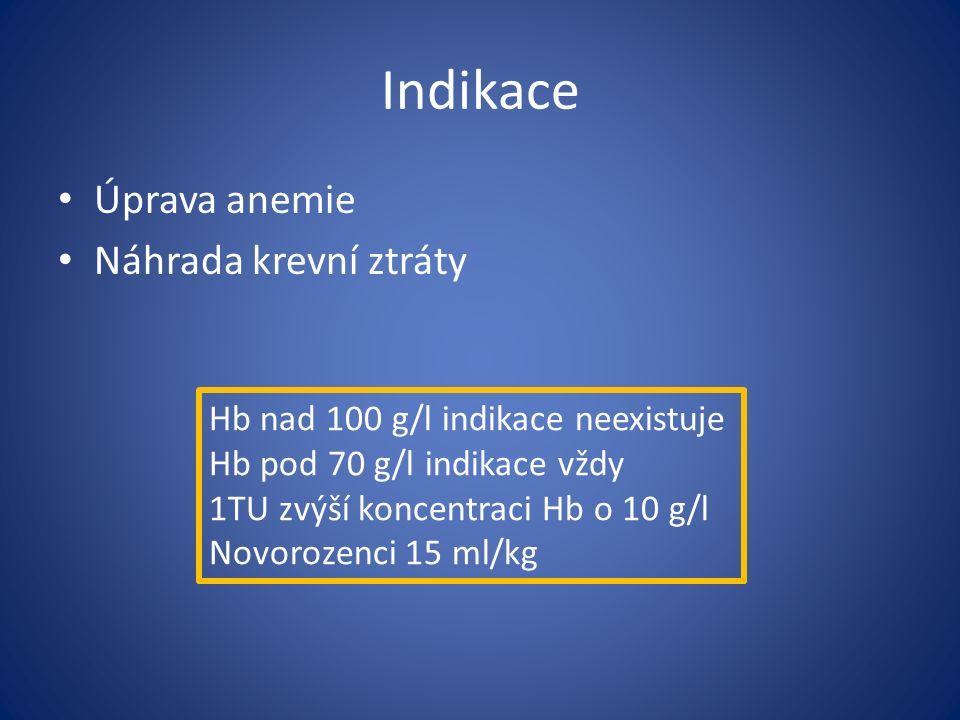 Indikace Úprava anemie Náhrada krevní ztráty Hb nad 100 g/l indikace neexistuje Hb pod 70 g/l indikace vždy 1TU zvýší koncentraci Hb o 10 g/l Novorozenci 15 ml/kg