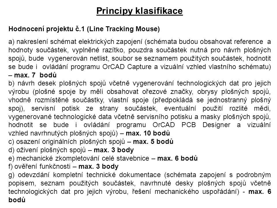 Principy klasifikace Hodnocení projektu č.1 (Line Tracking Mouse) a) nakreslení schémat elektrických zapojení (schémata budou obsahovat reference a ho