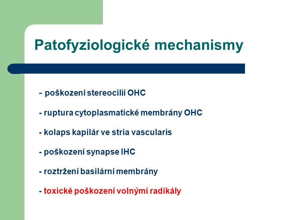 - poškození stereocilií OHC - ruptura cytoplasmatické membrány OHC - kolaps kapilár ve stria vascularis - poškození synapse IHC - roztržení basilární membrány - toxické poškození volnými radikály Patofyziologické mechanismy
