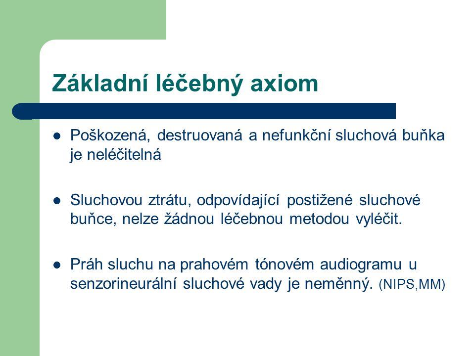 Základní léčebný axiom Poškozená, destruovaná a nefunkční sluchová buňka je neléčitelná Sluchovou ztrátu, odpovídající postižené sluchové buňce, nelze žádnou léčebnou metodou vyléčit.