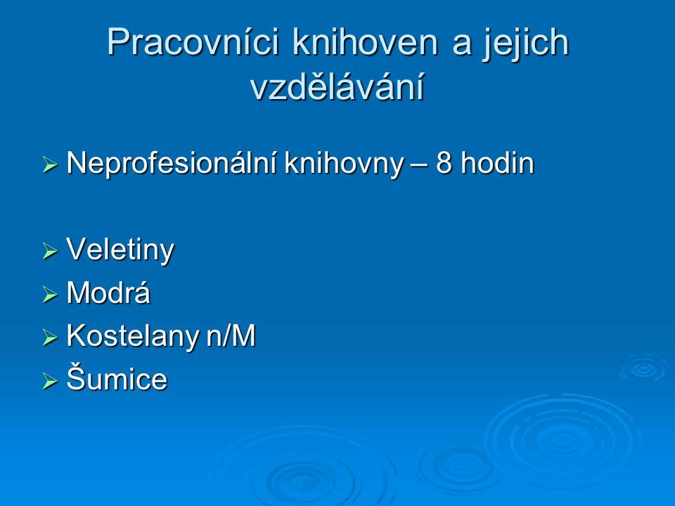 Pracovníci knihoven a jejich vzdělávání  Neprofesionální knihovny – 8 hodin  Veletiny  Modrá  Kostelany n/M  Šumice