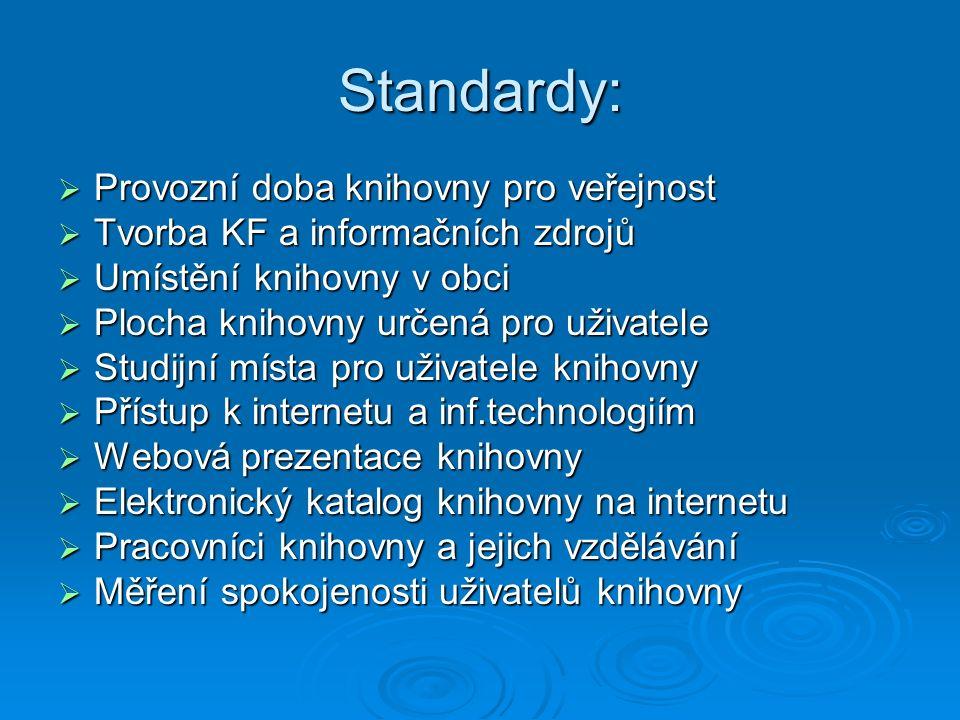 Standardy:  Provozní doba knihovny pro veřejnost  Tvorba KF a informačních zdrojů  Umístění knihovny v obci  Plocha knihovny určená pro uživatele  Studijní místa pro uživatele knihovny  Přístup k internetu a inf.technologiím  Webová prezentace knihovny  Elektronický katalog knihovny na internetu  Pracovníci knihovny a jejich vzdělávání  Měření spokojenosti uživatelů knihovny