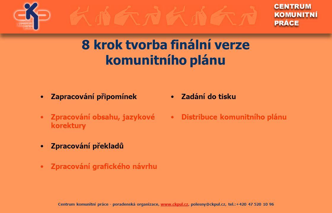 Centrum komunitní práce - poradenská organizace, www.ckpul.cz, polesny@ckpul.cz, tel.:+420 47 520 10 96www.ckpul.cz 8 krok tvorba finální verze komuni