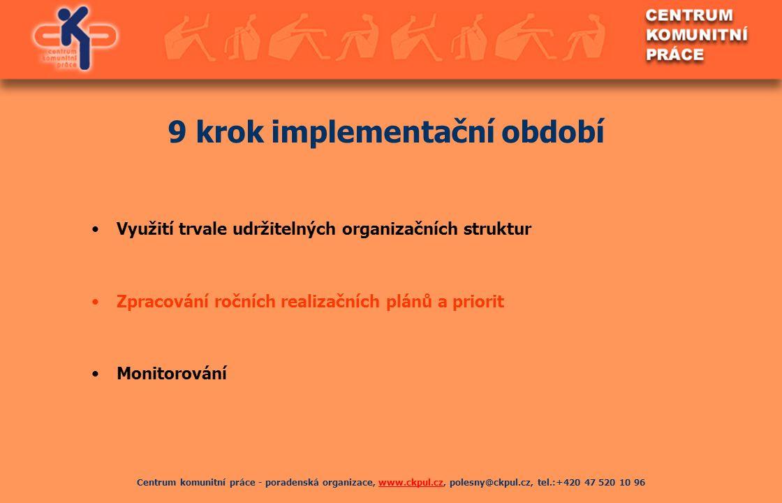 Centrum komunitní práce - poradenská organizace, www.ckpul.cz, polesny@ckpul.cz, tel.:+420 47 520 10 96www.ckpul.cz 9 krok implementační období Využit