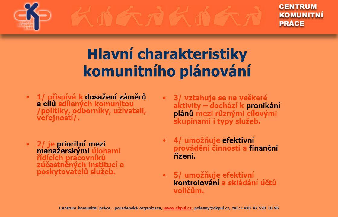 Centrum komunitní práce - poradenská organizace, www.ckpul.cz, polesny@ckpul.cz, tel.:+420 47 520 10 96www.ckpul.cz Hlavní charakteristiky komunitního