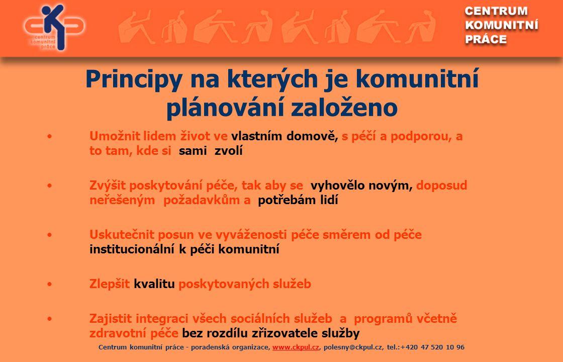 Centrum komunitní práce - poradenská organizace, www.ckpul.cz, polesny@ckpul.cz, tel.:+420 47 520 10 96www.ckpul.cz Principy na kterých je komunitní p
