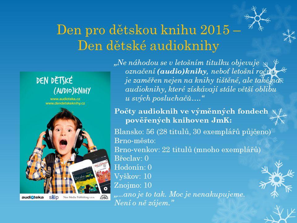 """Den pro dětskou knihu 2015 – Den dětské audioknihy """"Ne náhodou se v letošním titulku objevuje označení (audio)knihy, neboť letošní ročník je zaměřen nejen na knihy tištěné, ale také na audioknihy, které získávají stále větší oblibu u svých posluchačů…. Počty audioknih ve výměnných fondech pověřených knihoven JmK: Blansko: 56 (28 titulů, 30 exemplářů půjčeno) Brno-město: Brno-venkov: 22 titulů (mnoho exemplářů) Břeclav: 0 Hodonín: 0 Vyškov: 10 Znojmo: 10 """"...ano je to tak."""