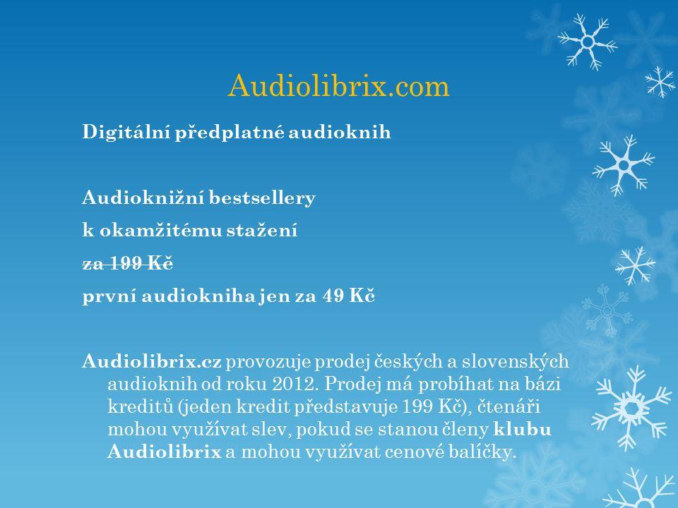 Audiolibrix.com Digitální předplatné audioknih Audioknižní bestsellery k okamžitému stažení za 199 Kč první audiokniha jen za 49 Kč Audiolibrix.cz provozuje prodej českých a slovenských audioknih od roku 2012.