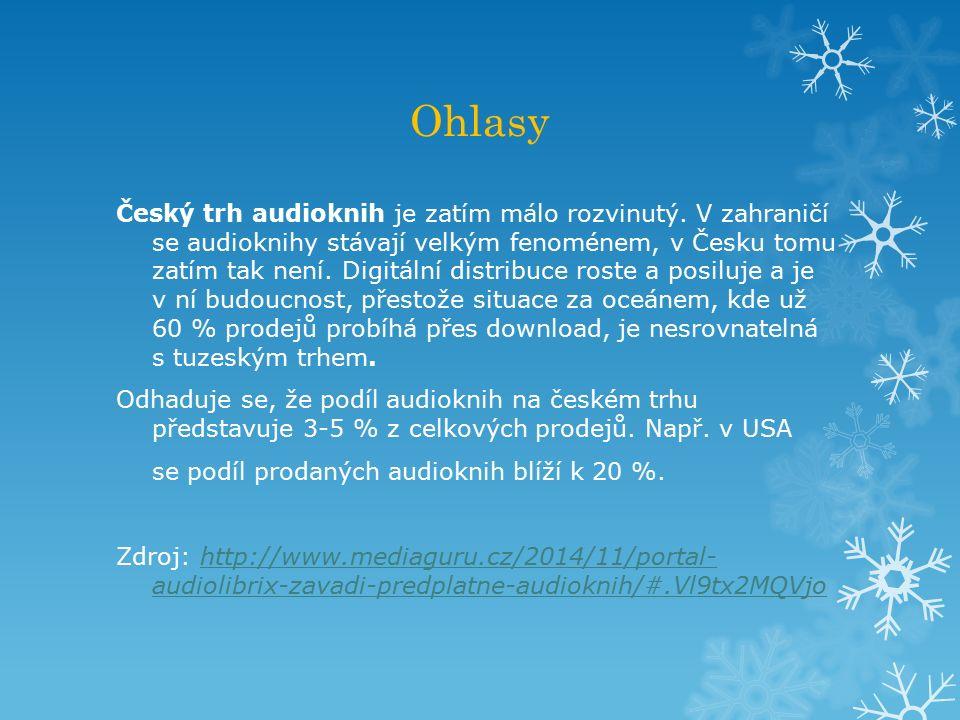 Ohlasy Český trh audioknih je zatím málo rozvinutý.
