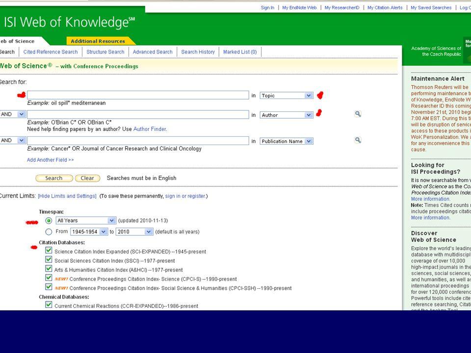 """Čtvrtá prohlížená databáze je """"Web of Knowledge"""