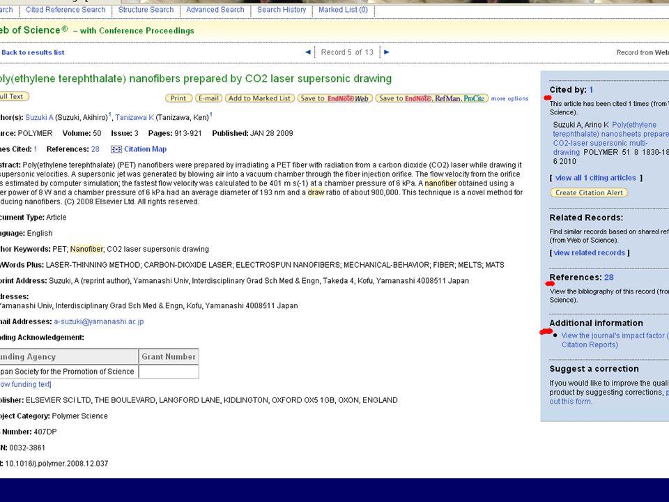 Výsledky vyhledávání si lze uložit pomocí služby EndNote Web, můžete je e-mailem poslat na jinou adresu, přidat si je do svého seznamu.