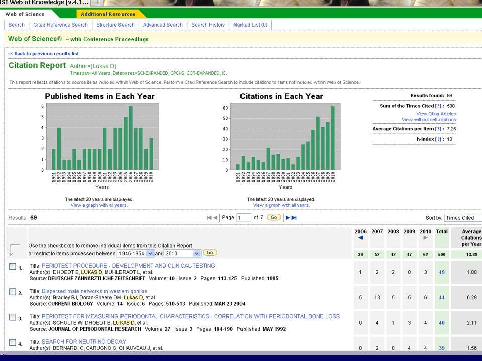 """Klikneme si na pokyn """"Vytvoř citační zprávu a získáme potřebné údaje pro hodnocení sledovaného neznámého výzkumného pracovníka s počty citací jeho článků v jednotlivých letech a s průměrnou citovaností, počty publikací v jednotlivých letech a počty citací dle let."""