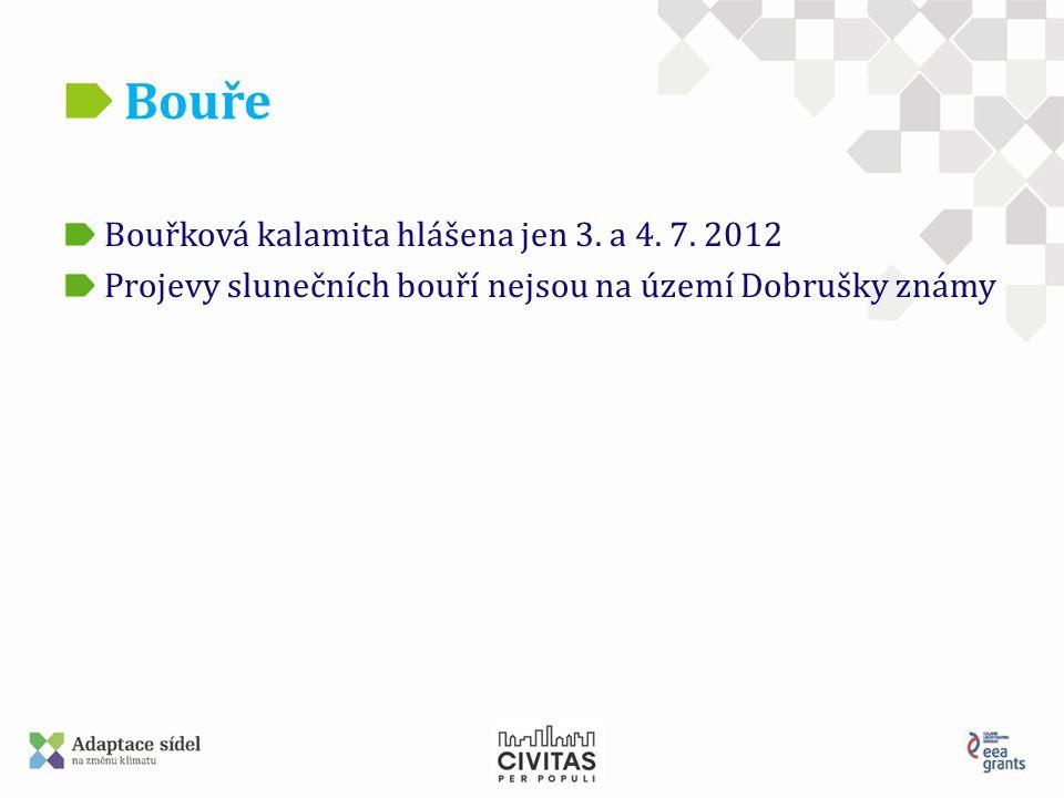 Bouře Bouřková kalamita hlášena jen 3. a 4. 7. 2012 Projevy slunečních bouří nejsou na území Dobrušky známy