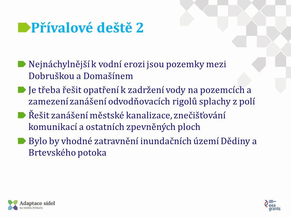 Přívalové deště 2 Nejnáchylnější k vodní erozi jsou pozemky mezi Dobruškou a Domašínem Je třeba řešit opatření k zadržení vody na pozemcích a zamezení