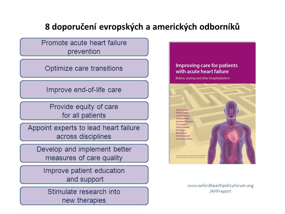 8 doporučení evropských a amerických odborníků Optimize care transitions Improve patient education and support Provide equity of care for all patients Appoint experts to lead heart failure across disciplines Stimulate research into new therapies Develop and implement better measures of care quality Improve end-of-life care Promote acute heart failure prevention www.oxfordhealthpolicyforum.org /AHFreport