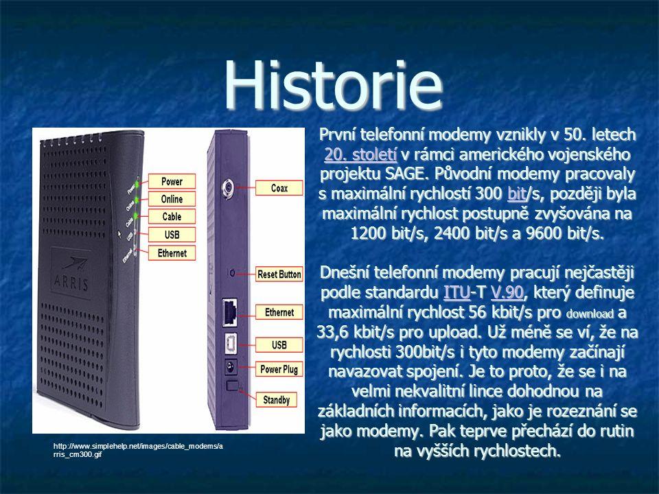 První telefonní modemy vznikly v 50. letech 20.