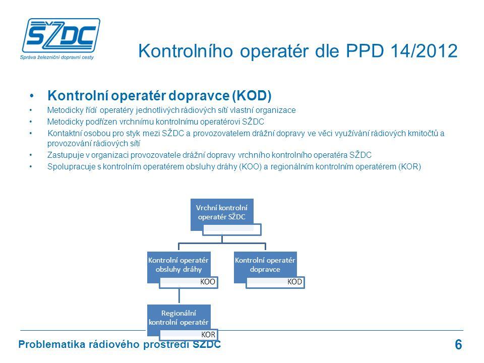 Kontrolní operatér dopravce (KOD) Metodicky řídí operatéry jednotlivých rádiových sítí vlastní organizace Metodicky podřízen vrchnímu kontrolnímu oper