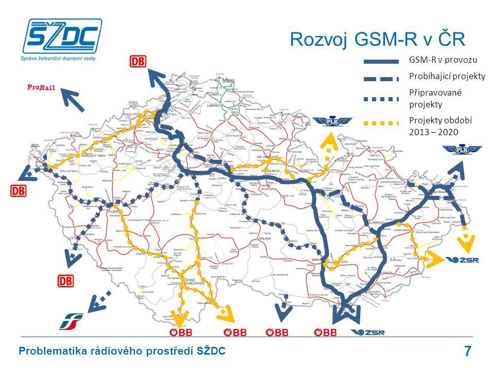 7 Problematika rádiového prostředí SŽDC Rozvoj GSM-R v ČR GSM-R v provozu Probíhající projekty Připravované projekty Projekty období 2013 – 2020