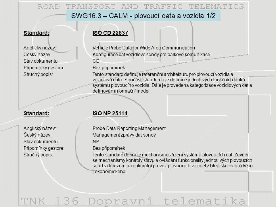 Standard: ISO CD 22837 Anglický název:Vehicle Probe Data for Wide Area Communication Český název:Konfigurace dat vozidlové sondy pro dálkové komunikace Stav dokumentu:CD Připomínky gestora:Bez připomínek Stručný popis:Tento standard definuje referenční architekturu pro plovoucí vozidla a vozidlová data.