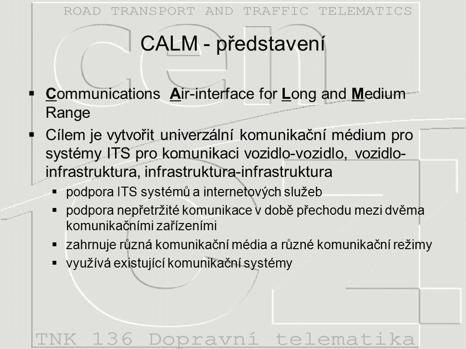 CALM - představení  Communications Air-interface for Long and Medium Range  Cílem je vytvořit univerzální komunikační médium pro systémy ITS pro komunikaci vozidlo-vozidlo, vozidlo- infrastruktura, infrastruktura-infrastruktura  podpora ITS systémů a internetových služeb  podpora nepřetržité komunikace v době přechodu mezi dvěma komunikačními zařízeními  zahrnuje různá komunikační média a různé komunikační režimy  využívá existující komunikační systémy