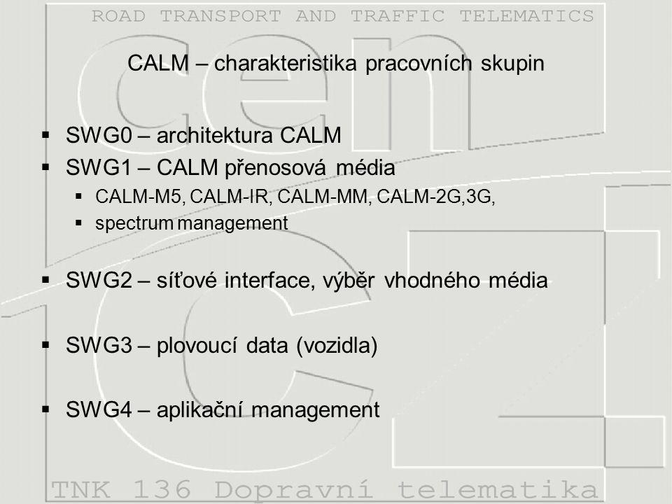 CALM – charakteristika pracovních skupin  SWG0 – architektura CALM  SWG1 – CALM přenosová média  CALM-M5, CALM-IR, CALM-MM, CALM-2G,3G,  spectrum management  SWG2 – síťové interface, výběr vhodného média  SWG3 – plovoucí data (vozidla)  SWG4 – aplikační management