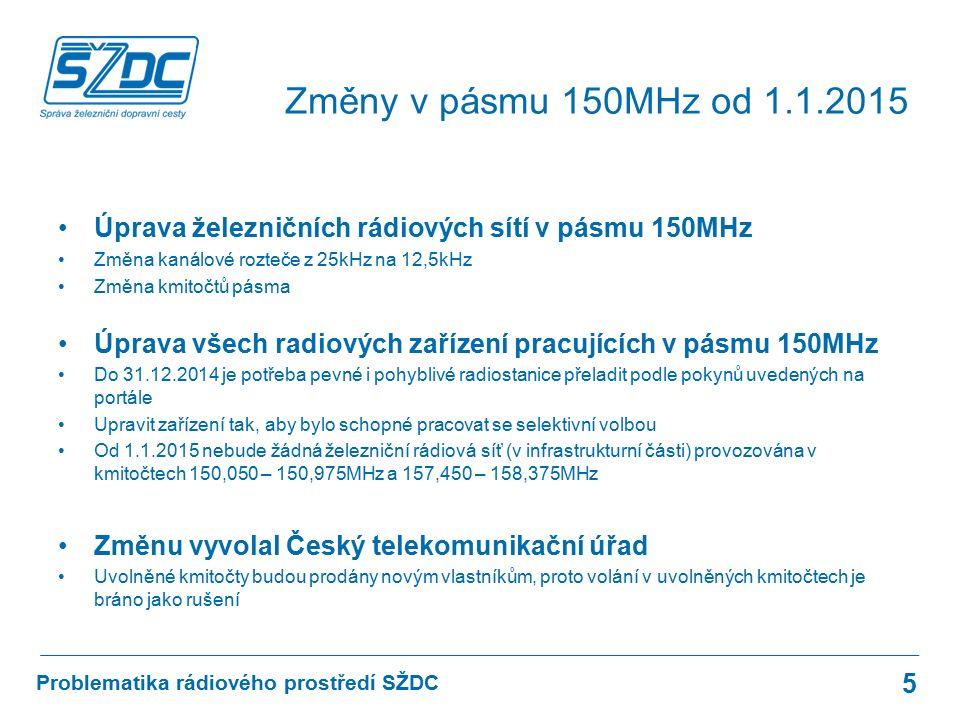 Úprava železničních rádiových sítí v pásmu 150MHz Změna kanálové rozteče z 25kHz na 12,5kHz Změna kmitočtů pásma Úprava všech radiových zařízení pracujících v pásmu 150MHz Do 31.12.2014 je potřeba pevné i pohyblivé radiostanice přeladit podle pokynů uvedených na portále Upravit zařízení tak, aby bylo schopné pracovat se selektivní volbou Od 1.1.2015 nebude žádná železniční rádiová síť (v infrastrukturní části) provozována v kmitočtech 150,050 – 150,975MHz a 157,450 – 158,375MHz Změnu vyvolal Český telekomunikační úřad Uvolněné kmitočty budou prodány novým vlastníkům, proto volání v uvolněných kmitočtech je bráno jako rušení Problematika rádiového prostředí SŽDC Změny v pásmu 150MHz od 1.1.2015 5