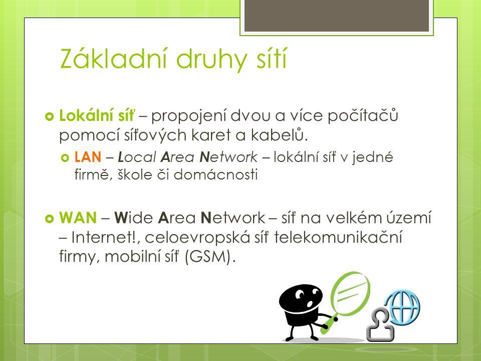Základní druhy sítí  Lokální síť – propojení dvou a více počítačů pomocí síťových karet a kabelů.  LAN – L ocal A rea N etwork – lokální síť v jedné