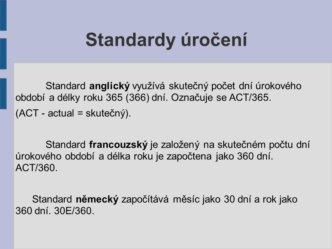 Standardy úročení Standard anglický využívá skutečný počet dní úrokového období a délky roku 365 (366) dní. Označuje se ACT/365. (ACT - actual = skute
