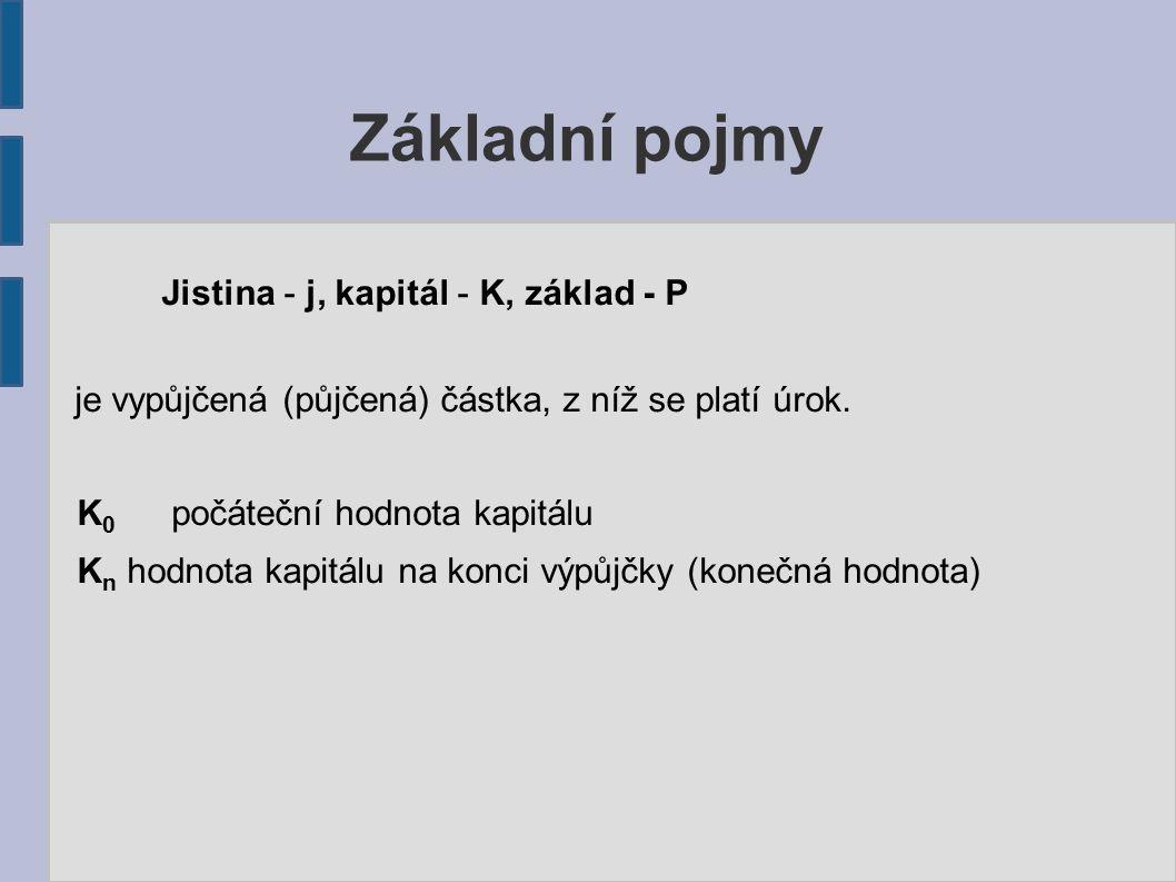 Základní pojmy Jistina - j, kapitál - K, základ - P je vypůjčená (půjčená) částka, z níž se platí úrok.