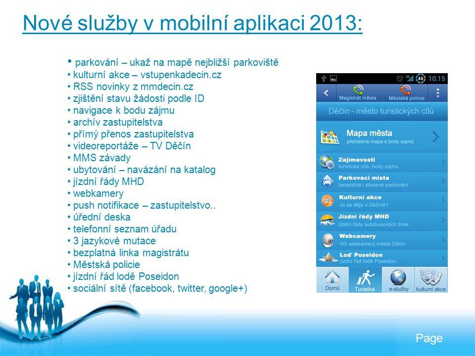Free Powerpoint Templates Page Nové služby v mobilní aplikaci 2013: parkování – ukaž na mapě nejbližší parkoviště kulturní akce – vstupenkadecin.cz RS