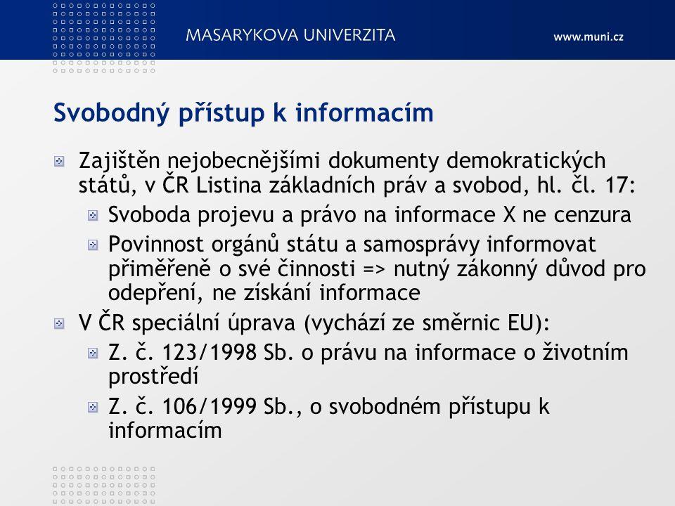 Svobodný přístup k informacím Zajištěn nejobecnějšími dokumenty demokratických států, v ČR Listina základních práv a svobod, hl.
