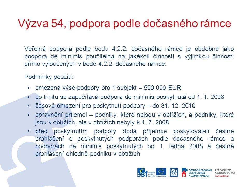 Výzva 54, podpora podle dočasného rámce Veřejná podpora podle bodu 4.2.2.